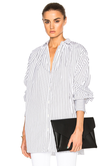 Tome Oversized Gather Shirt in White, Stripes. - size S (also in )
