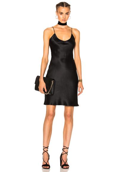ThePerfext for FWRD Alessandra Short Slip Dress in Black