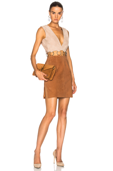 Understated Leather Ultimate for FWRD Suede Colorblock Dress in Brown, Neutrals