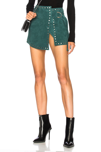 UNDERSTATED LEATHER ULTIMATE FOR FWRD SUEDE WRAP MINI SKIRT IN GREEN