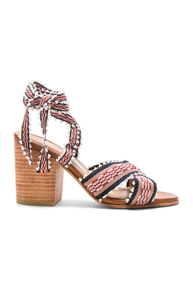 Ulla Johnson Rowena Handloom Heels in Red, Geometric Print