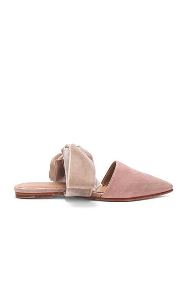 Ulla Johnson Suede Lou Slides in Pink