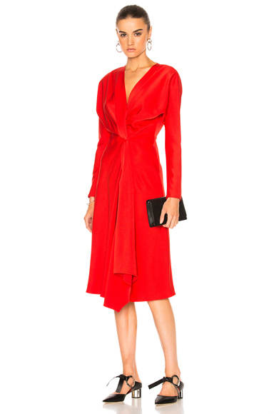 Victoria Beckham Crepe Back Satin Drape Wrap Dress in Red