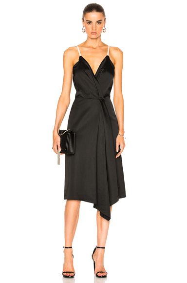 Victoria Beckham Heavy Fluid Silk Wrap Dress in Black