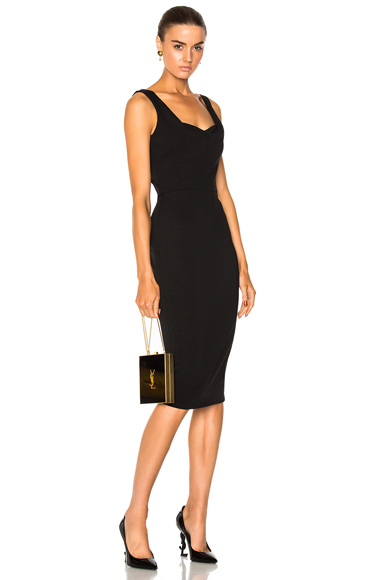 Victoria Beckham Matte Heavy Rib Jersey Drape Cami Curve Fitted Dress in Black