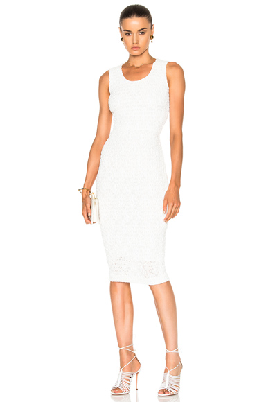 Victoria Beckham Linear Smocked Lace Fitted Dress in White