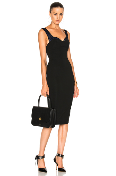 Victoria Beckham Dense Rib Trompe L'Oeil Fitted Dress in Black