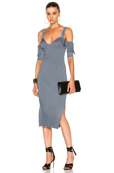 Victoria Beckham Bicolor Rib High Slit Dress in Blue
