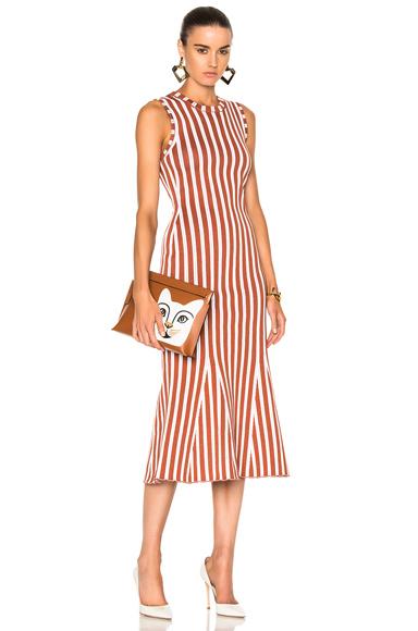 Victoria Beckham Wide Stripe Intarsia Fitted Kick Dress in Stripes, Orange, White