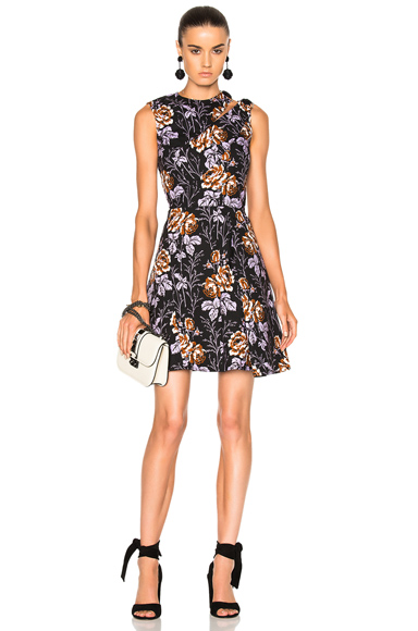 Victoria Beckham Cotton Print D-Ring Mini Dress in Black, Floral, Purple
