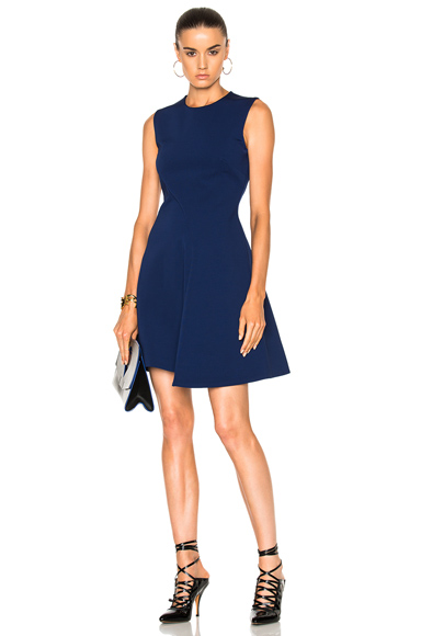 Victoria Beckham Dense Rib Sleeveless Drape Mini Dress in Blue