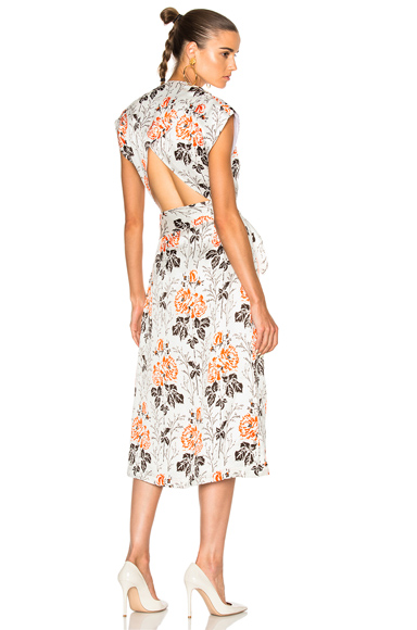 Victoria Beckham Crepon Print Belted Wrap Midi Dress in Floral, Red, White