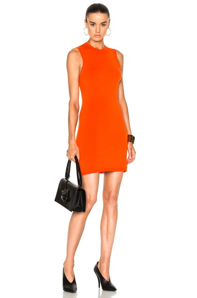 Victoria Beckham Compact Jersey Sleeveless Fitted Mini Dress in Orange