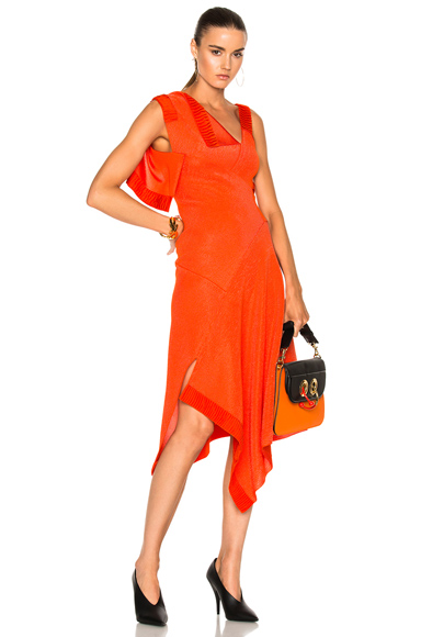 Victoria Beckham Double Face Shine Patchwork Dress in Orange, Red