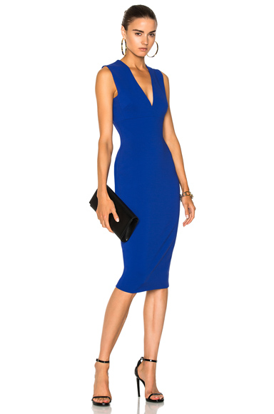 Victoria Beckham Matte Heavy Rib Jersey Sleeveless V-Neck Fitted Dress in Blue