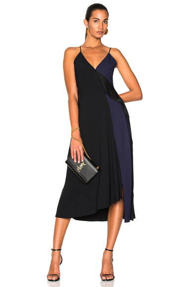Victoria Beckham Satin Back Crepe Asymmetric V-Neck Cami Flare Dress in Black, Blue