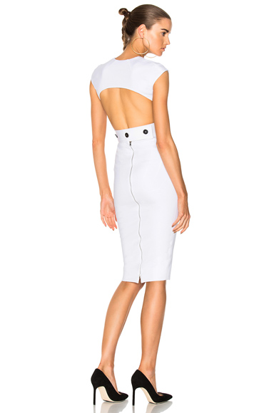Victoria Beckham Dense Rib Jersey Open Back Fitted Dress in White