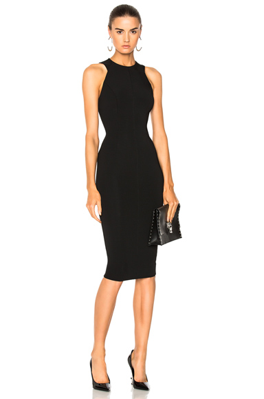 Victoria Beckham Dense Rib Jersey Cut Out Back Fitted Dress in Black