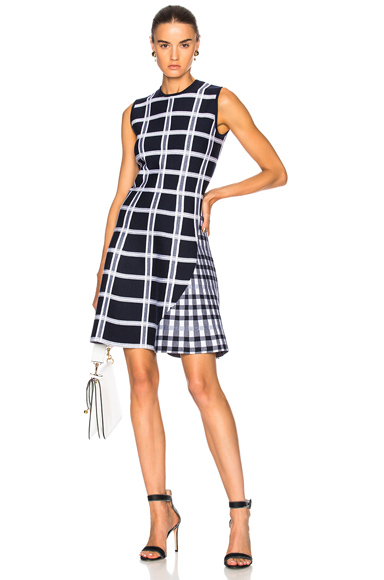 Victoria Beckham Tartan Check Intarsia Mini Dress in Blue, Checkered & Plaid, White