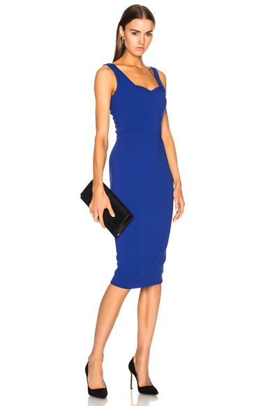 Victoria Beckham Matte Heavy Rib Jersey Drape Cami Curve Fitted Dress in Blue
