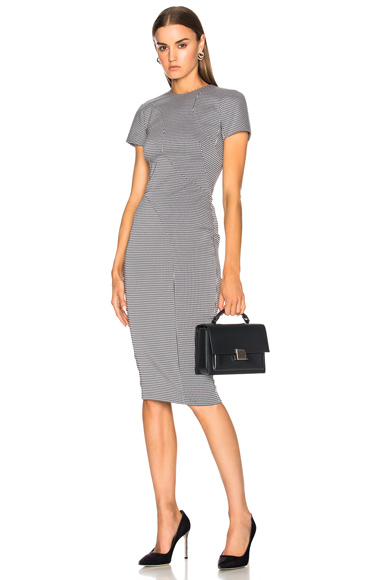 Victoria Beckham Graphic Houndstooth Paneled Fitted Midi Dress in Black, Checkered & Plaid