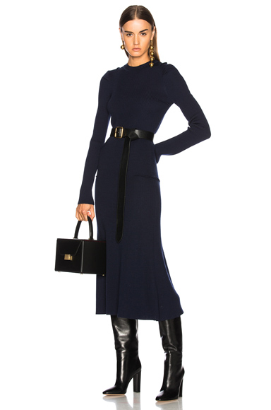 Victoria Beckham Compact Rib Dress in Blue
