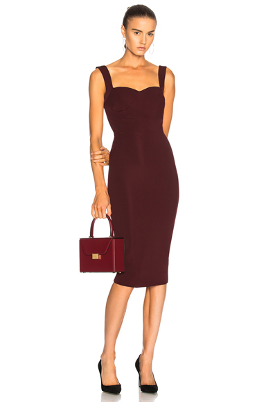 Victoria Beckham Dense Rib Cami Fitted Dress in Red