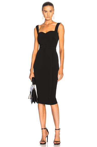 Victoria Beckham Dense Rib Cami Fitted Dress in Black