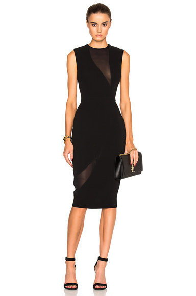 Victoria Beckham Double Crepe & Georgette Fitted Dress in Black