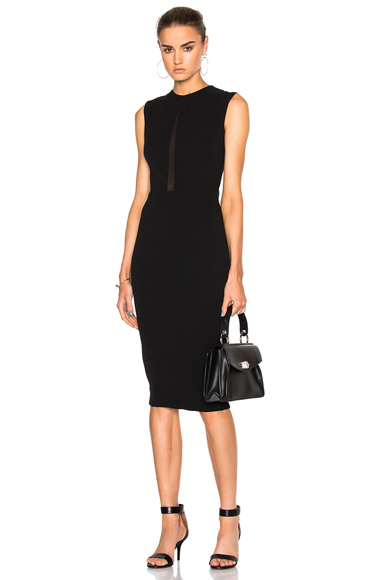 Victoria Beckham Double Crepe Sleeveless Sheer Inset Dress in Black