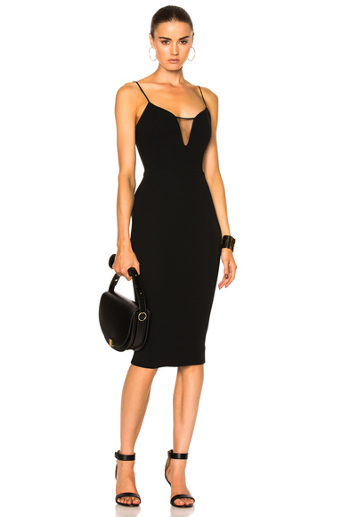 Victoria Beckham Matte Crepe & Tulle Sheer Insert Strap Fitted Dress in Black