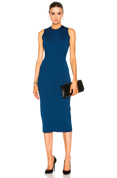 Victoria Beckham Shine Viscose Dress in Blue