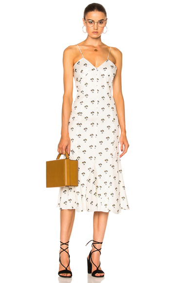 Victoria Beckham Cami Flare Midi Dress in Floral, White