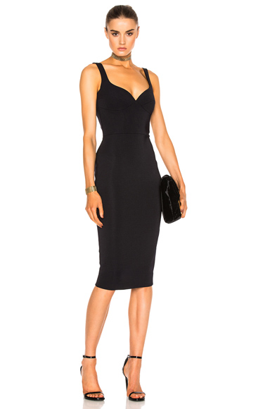 Victoria Beckham Dense Rib Cami Curve Fitted Dress in Blue