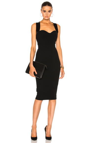 Victoria Beckham Matte Crepe Cross Back Cami Fitted Dress in Black