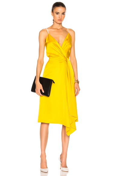 Victoria Beckham Heavy Fluid Silk Wrap Dress in Yellow