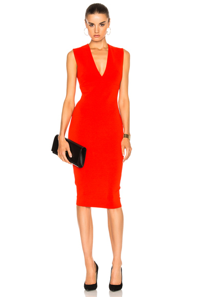 Victoria Beckham Matte Jersey Sleeveless V Neck Fitted Dress in Red