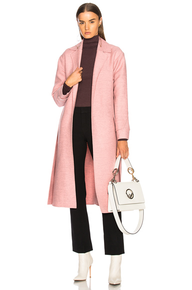 Victoria Beckham Soft Felt Side Panel Slim Coat in Pink
