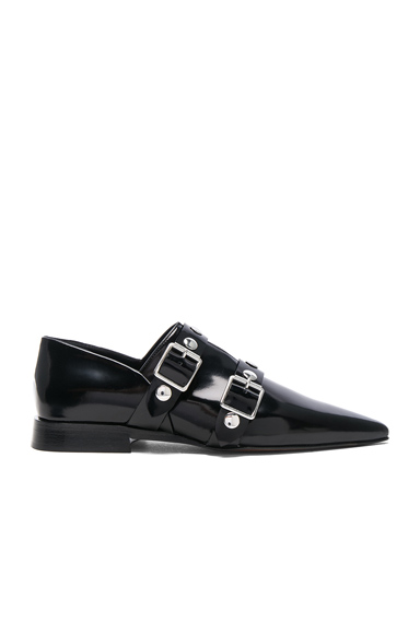Victoria Beckham Leather Buckle Flats in Black