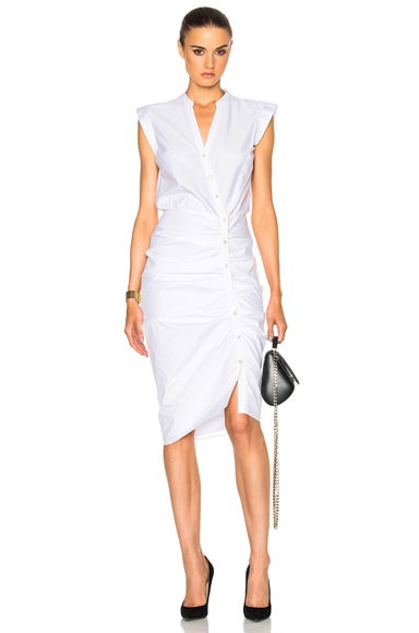 Veronica Beard Ruched Shirt Dress in White