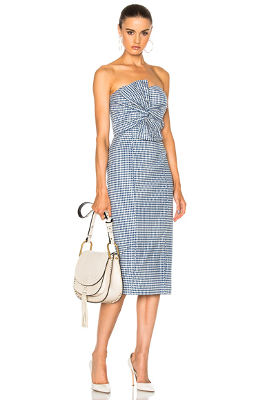 Veronica Beard Birdie Bow Dress in Blue, Checkered & Plaid