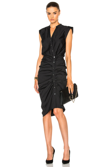 Veronica Beard Ruched Shirt Dress in Black