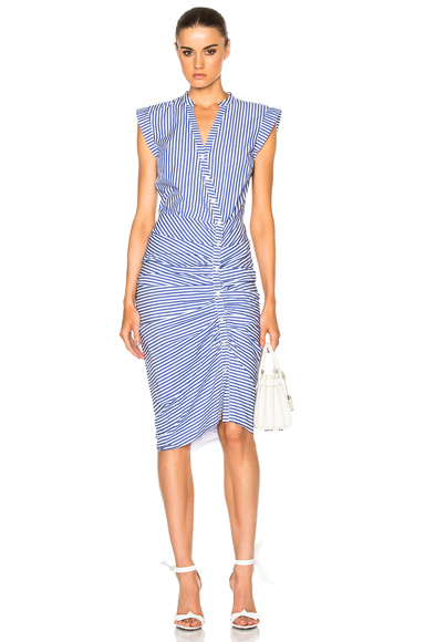 Veronica Beard Ruched Shirt Dress in White, Blue, Stripes