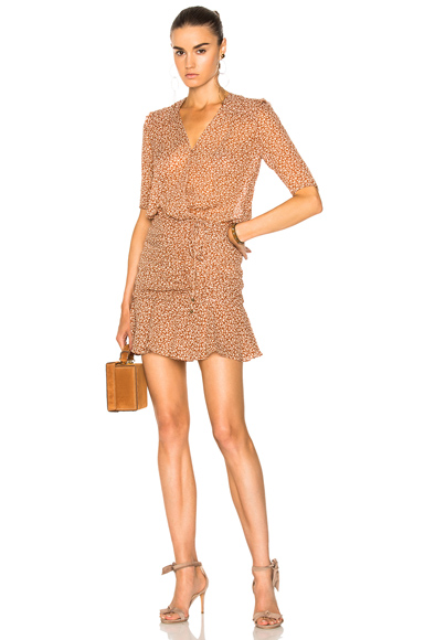 Veronica Beard Dakota Flounce Dress in Brown, Floral