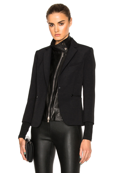 Veronica Beard Scuba Schoolboy Blazer with Leather Dickey in Black