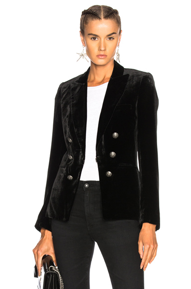 Veronica Beard Velvet Briar Double Breasted Jacket in Black