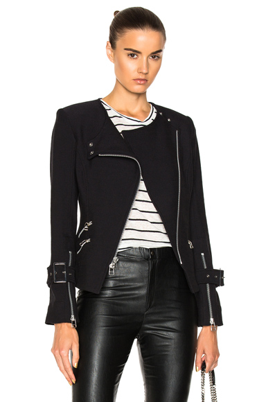 Veronica Beard Jordan Collarless Moto Jacket in Black