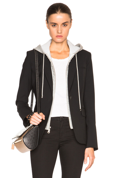 Veronica Beard Classic Blazer with Hoodie Dickey in Black