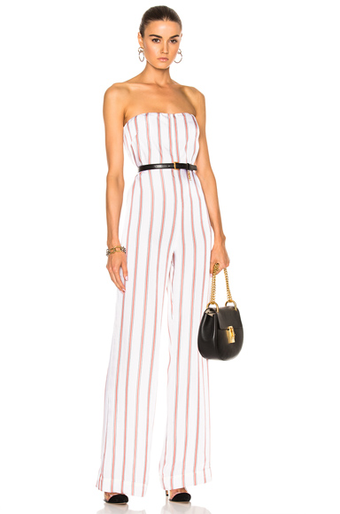 Veronica Beard Bandstand Strapless Jumpsuit in Pink, Stripes, White