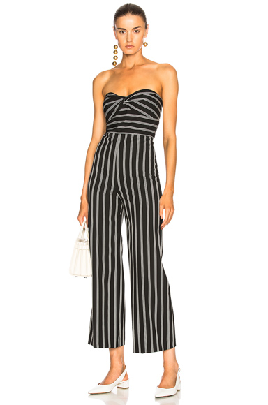 Veronica Beard Cypress Jumpsuit in Black, Stripes